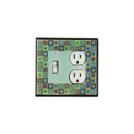 Tiny Tiles Combo Switch Plate 1 Toggle/Outlet