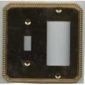 Polished Brass Beaded Single Toggle GFI Combo