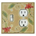 Red Flower Combo Switch Plate 1 Toggle/Outlet
