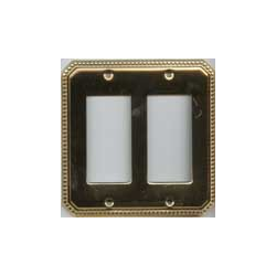 Polished Brass Beaded Double GFI