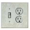 White Design Combo Switch Plate 1 Toggle/Outlet