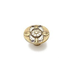 Antique Brass Knob with Mother of Pearl