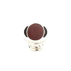 Polished Nickel Knob with Red and Black Leather