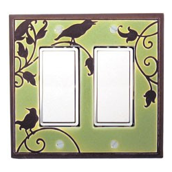 Green Songbird Double Decora Switch Plate