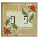 Red Flower Double Toggle Switch Plate