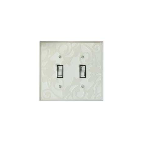 White Design Double Toggle Switch Plate