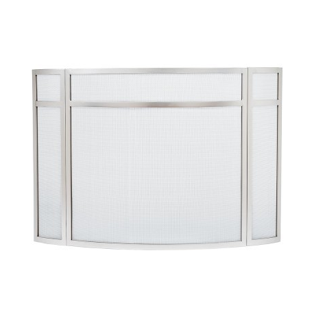 Stainless Steel Panelled Curved Folding Fireplace Screen