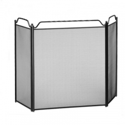 Black 3-Fold Fire Screen