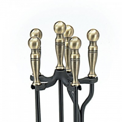 5-Piece Ball Handle Fireplace Tool Set Square Base