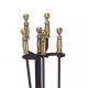 Antique Brass Plated 4 Piece Fireplace Tool Set