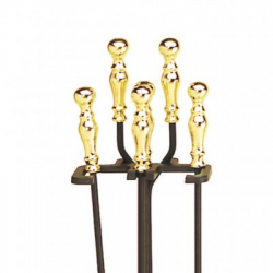 Brass Plated and Black 4-Piece Fireplace Tool Set