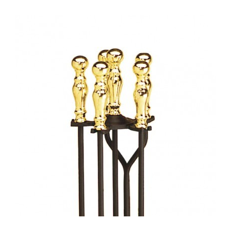 Brass Plated and Black Fireplace Tool Set