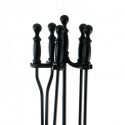Black 4-piece Fireplace Tool Set