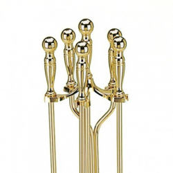 Brass 5-Piece Ball Handle Fireplace Tool Set
