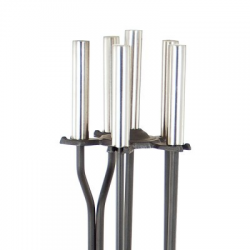 Pewter and Black 4-Piece Fireplace Tool Set