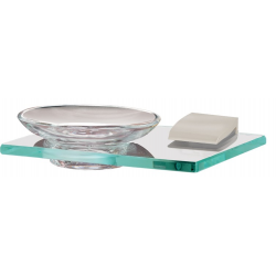 Satin Nickel Glass Soap Dish