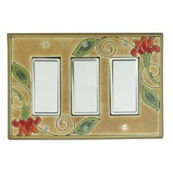 Red Flower Triple Decora Switch Plate