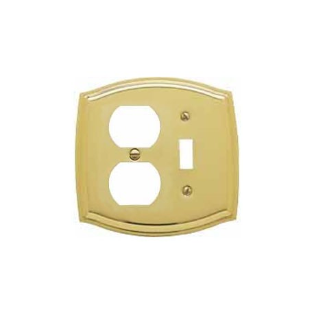 Polished Brass Switch Plate Outlet/Single Toggle Combo