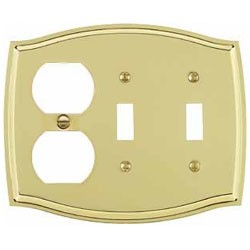 Polished Brass Switch Plate Outlet/Double Toggle Combo