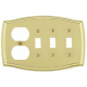 Polished Brass Switch Plate Outlet/Triple Toggle Combo