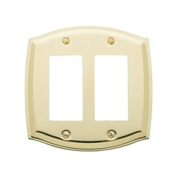 Polished Brass Switch Plate Double GFI