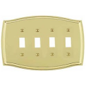 Polished Brass Switch Plate Quad Toggle
