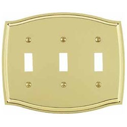 Polished Brass Switch Plate Triple Toggle