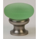 Glass Knob/ Frosted Green/ Satin Nickel