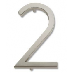 Modern House Number 2  -Brushed Nickel