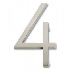 Modern House Number 4 - Brushed Nickel