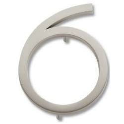 Modern House Number 6 Brushed Nickel