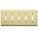 Polished Brass Beveled Edge Switch Plate 5 Toggle