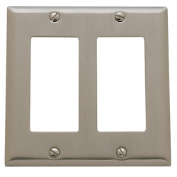 Satin Nickel Beveled Edge Double GFI