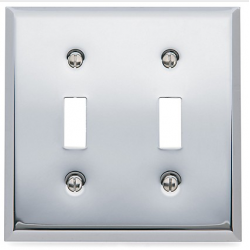 Polished Chrome Double Toggle Switch Plate