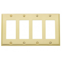 Polished Brass Beveled Edge Quad GFI