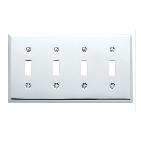 Polished Chrome Beveled Edge Quad Toggle