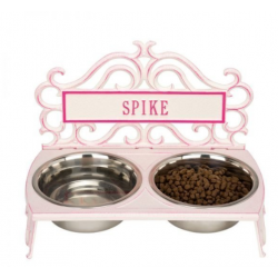 Bistro Dog Feeder Stucco & Magenta