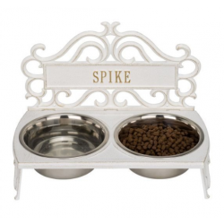 Bistro Dog Feeder White & Gold