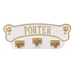 Dog Bone Wall Hook White & Gold