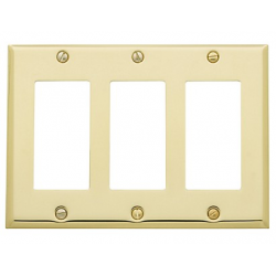 Polished Brass Beveled Edge Triple GFI
