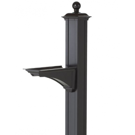 Balmoral Mailbox Post with Bracket -Black