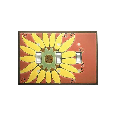 Sunflower Triple Toggle Switch Plate