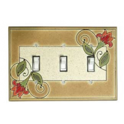 Red Flower Triple Toggle Switch Plate