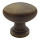 Traditional Satin Brass and Black Oval Knob