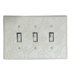 White Design Triple Toggle Switch Plate
