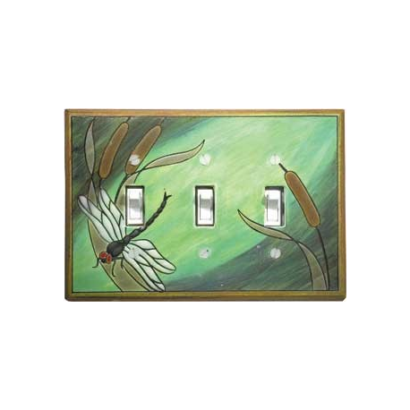 Dragonfly Triple Toggle Switch Plate