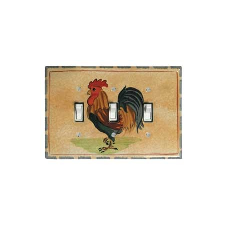 Rooster Triple Toggle Switch Plate