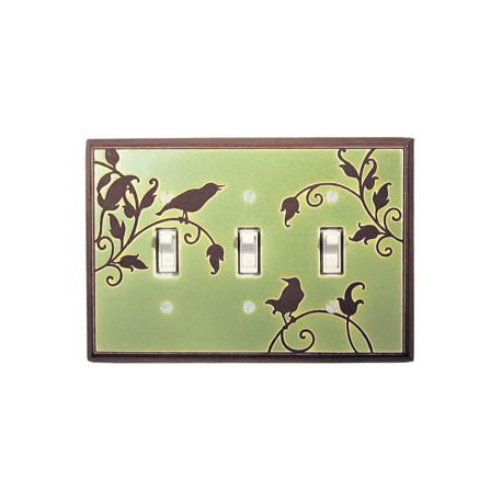 Green Songbird Triple Toggle Switch Plate