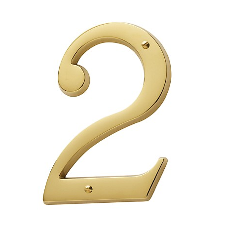 Non-Lacquered Brass House Number 2