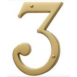 Non-Lacquered Brass House Number 3
